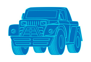 Blue Jeep Vector Shape