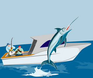 Blue Marlin Fish Jumping Retro