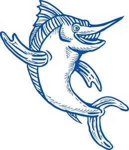 Blue Marlin Waving Hello