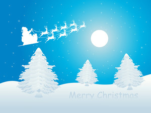 Blue Merry Christmas Wallpaper