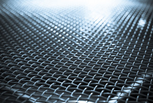 Blue metal grid abstract background