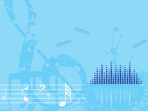 Blue Musical Background With Floral
