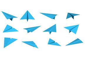 Blue Paper Planes Different Angles