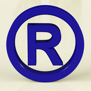 Blue Registered Sign Representing Patented Brands