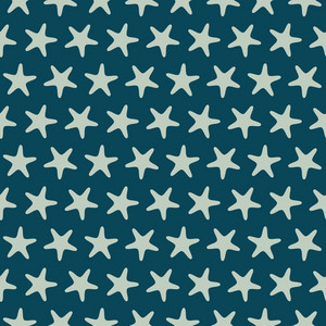 Blue Retro Beach Starfish Pattern