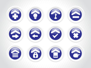 Blue Rounded Icons For Multiple Use