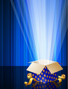 Blue Shining Magic Opened Gift Box. Vector.