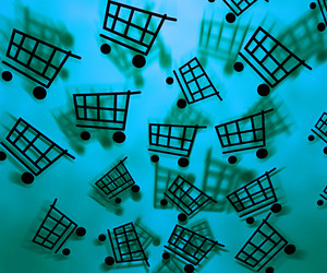 Blue Shopping Cart Background
