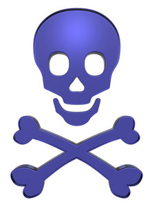 Blue Skull And Crossbones Isolated On White.