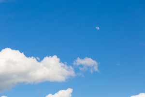 Blue sky with white clouds. Natural abstract background.