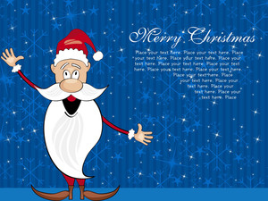Blue Snowflake Background With Cartoon Santa