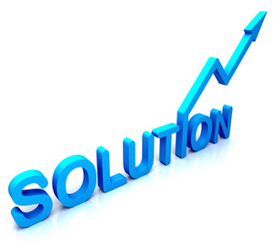 Blue Solution Word Shows Success And Strategy