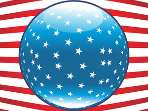 Blue Star Button With Us Flag Background
