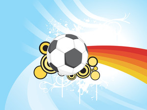 Blue Stripes Background With Soccer