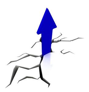 Blue Upward Arrow Shows Breakthrough
