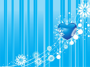 Blue Valentines Winter Vector Illustration