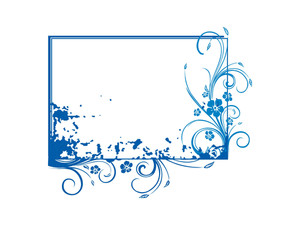 Blue Vector Frame With Grunge Elements And Flowers Theme