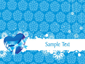 Blue Vector Heart Knoted With Ribbon Illustration