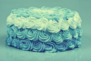 Blue vintage creamy Ombre cake
