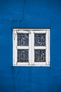 Blue wall with retro window