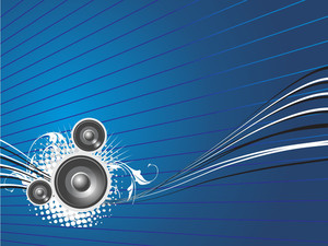 Blue Wallpaper Of Disco Theme With Speaker