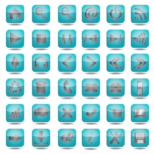 Blue-web-icons-set