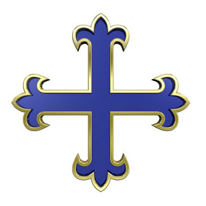 Blue With Gold Frame Heraldic Cross Isolated On White.