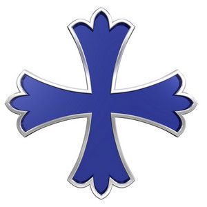 Blue With Silver Frame Heraldic Cross Isolated On White.