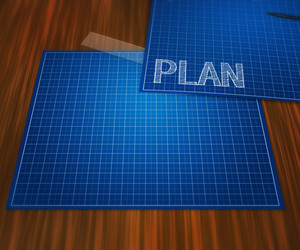 Blueprint Plan On Table Background