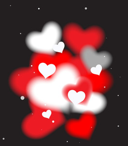 Blurred Hearts Vector Background