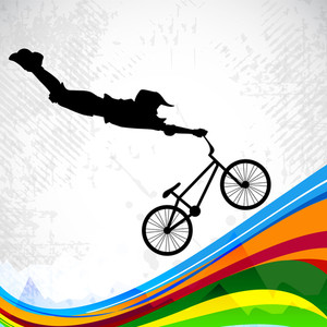 Bmx Cyclist Performing Stunt.