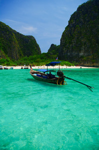 Boat on beautiful blue sea from South Thailand, Asia