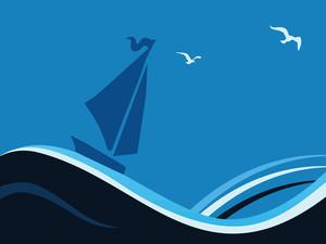 Boat On Blue Waves
