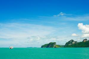 Barco no mar no console de Samui Tailândia