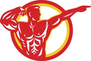Bodybuilder Flexing Muscles Retro