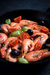Boiled Shrimp In Pan