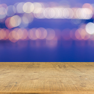 Bokeh wall with wood floor texture background