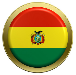 Bolivia Flag On The Round Button Isolated On White.