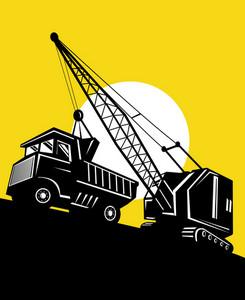 Boom Crane Loading Mining Dump Truck