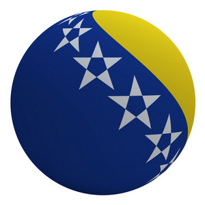 Bosnia Flag On The Ball Isolated On White.