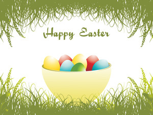 Bowl In Colorful Egg With Meadow Background