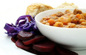 Bowl Of Scouse With Traditional Acompaniments