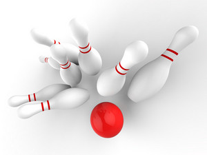 Bowling Strike Showing Skittles Game Success