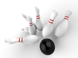 Bowling Strike Shows Winning Skittles Game