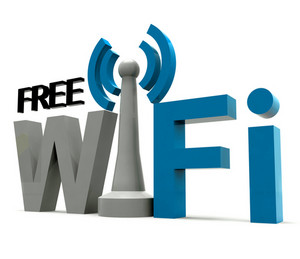 Boxed Free Wifi Internet Symbol Shows Coverage