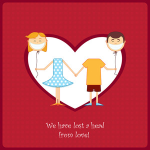 Boy And Girl In Love. Vector Card