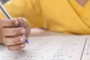 Boy doing the exam