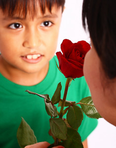 Boy Giving A Rose To His Mother