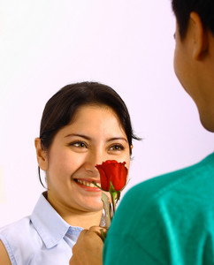 Boy Giving His Girlfriend A Beautiful Red Rose
