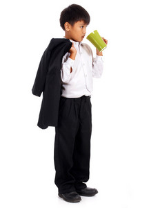 Boy In A Suit Drinking Coffee